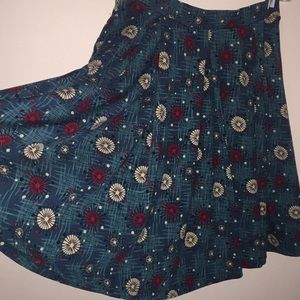 LuLaRoe 50s Inspired Full Knee Length Skirt MED